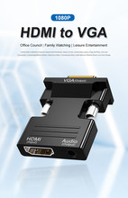 Hdmi-fêmea compatível para vga macho conversor 3,5mm adaptador de audio 1080p fhd saída de vídeo portátil monitor de tv projetor
