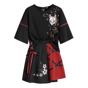 Anime Summer Women's Clothing Japanese Red Ribbon Girl Lolita T-shirt Short Skirt Set Adult Costume