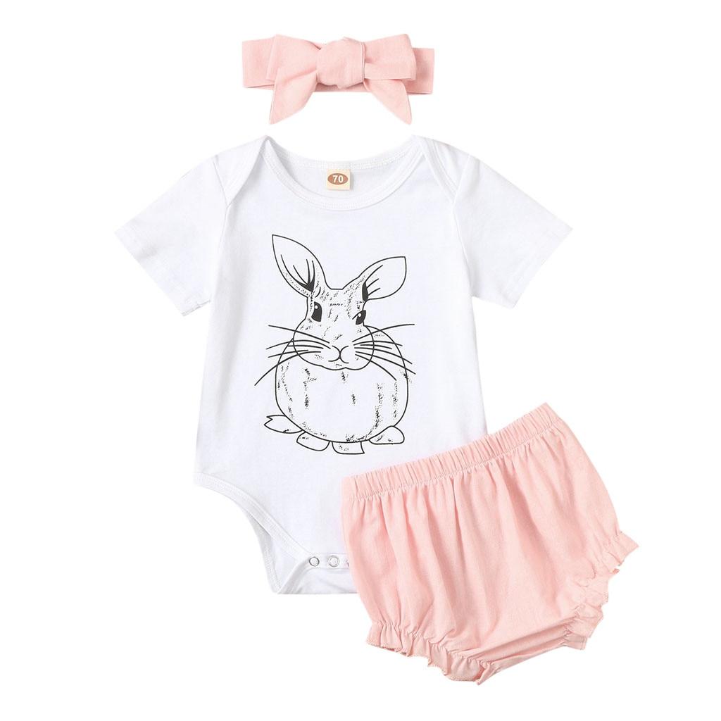 Floral Print Pants Outfits 0-18 Months Infant Baby Girls Easter Day Rabbit Bodysuit Romper Jumpsuit Bodysuit