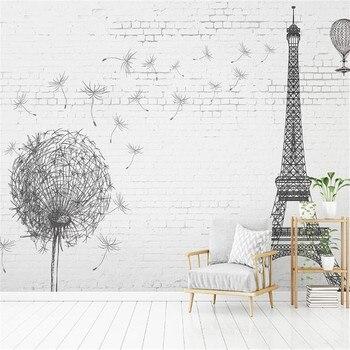Milofi manufacturers custom wallpaper mural 3d Eiffel Tower black and white brick background wall eiffel tower round wood analog wall clock