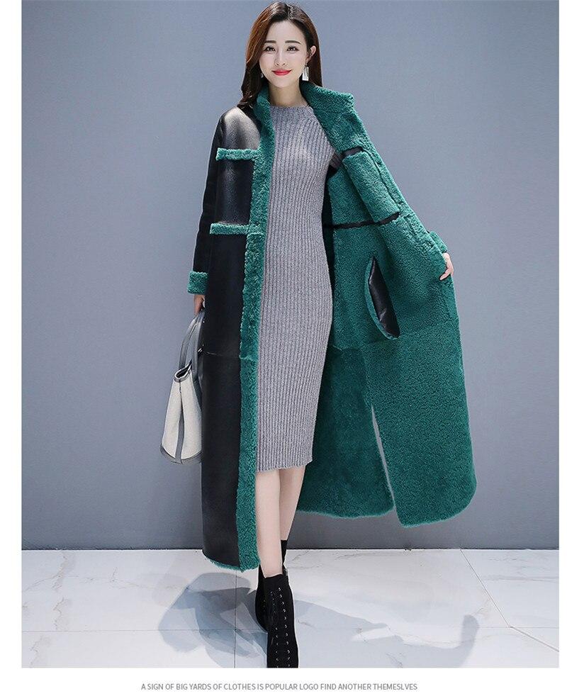 Image 4 - 女性子羊の毛皮のコート 2018 新冬プラスサイズの毛皮のコート 2 側面着用スエード Maix 毛皮ジャケットフェイクレザー毛皮コート -    グループ上の レディース衣服 からの フェイクファー の中