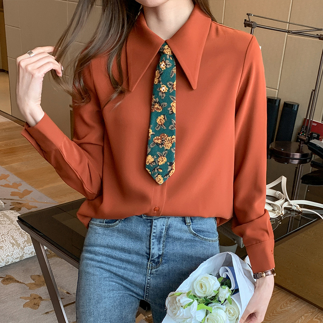 Spring 2021 New Style Big Lapel Retro Palace Style Contrast Color Tie Long-sleeved Chiffon Shirt Women Blouses 4