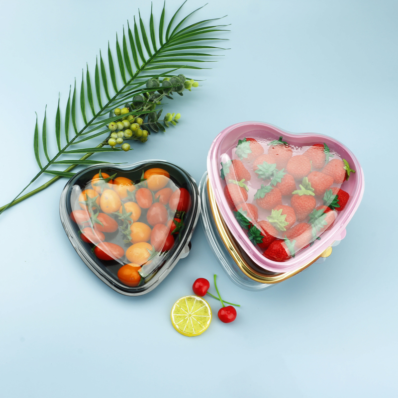 Low Price Gift Box Strawberry Packaging Heart Shape Plastic Container