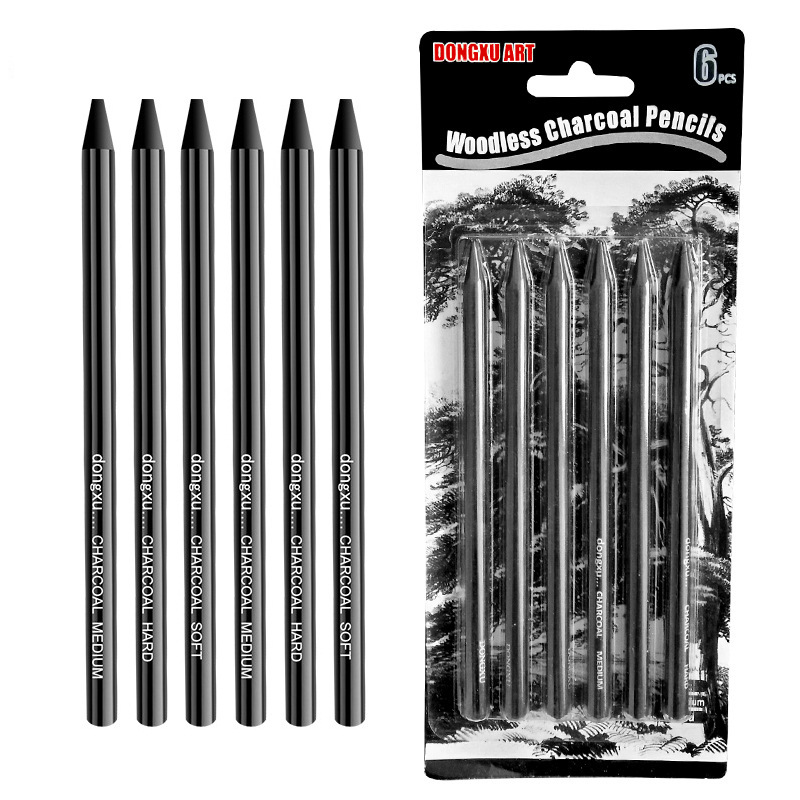 6PCS Professional Pure Carbon Sketch Pens Soft/Medium/Hard Woodless Charcoal Pencil Set For Sketching Drawing Tool Art Supplies