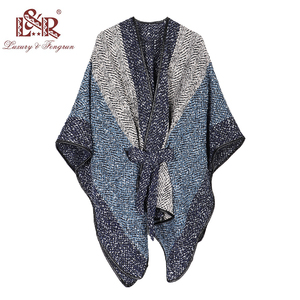 Image 2 - 2020 New Design Waistban Dess Winter Poncho for Women Ladies Cashmere Wool Ponchos Leather Hem Shawl Knitted Women Poncho Scarf
