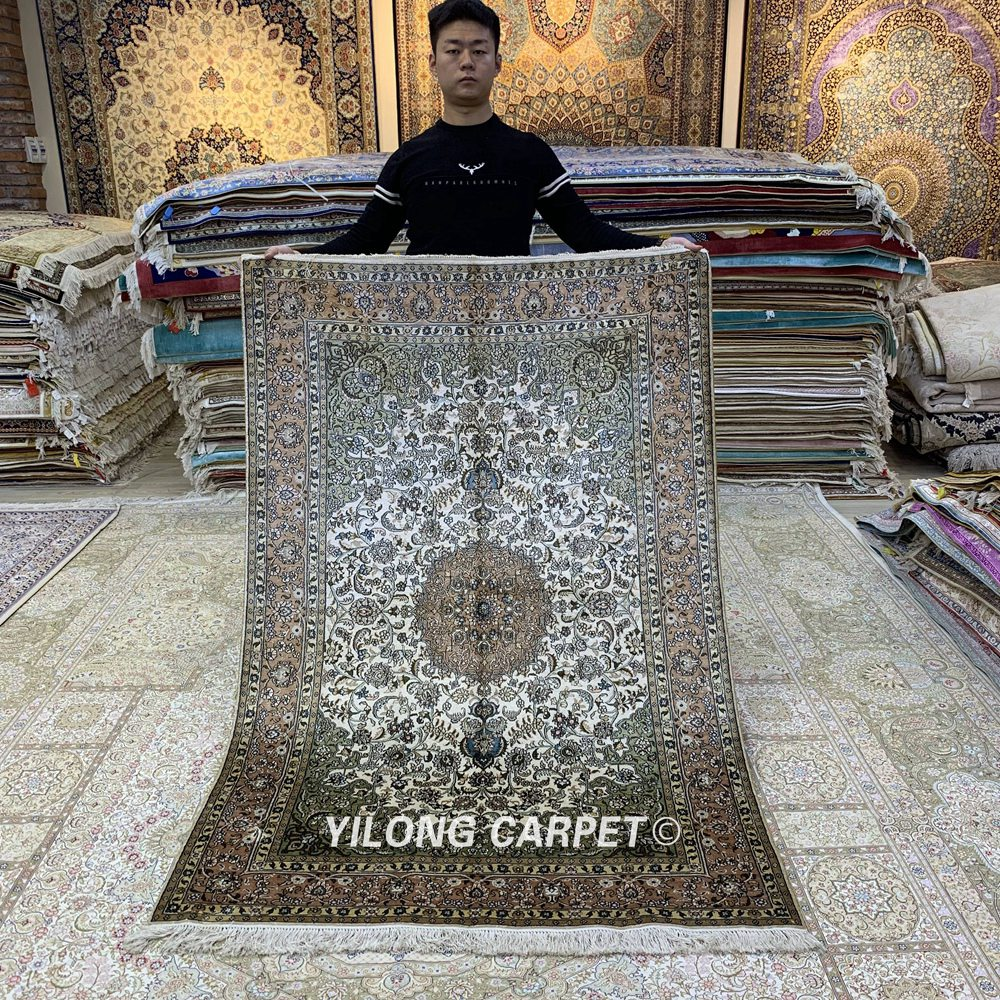 Yilong 4'x6 'noué à la main classique persan tapis turc Antique exquis tapis de soie (YHW1001B)