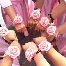 Decoración de boda de PE, rosa, flor de muñeca, damas de honor, regalos de boda para invitados, fiesta nupcial, recuerdo, pulsera Artificial, flor