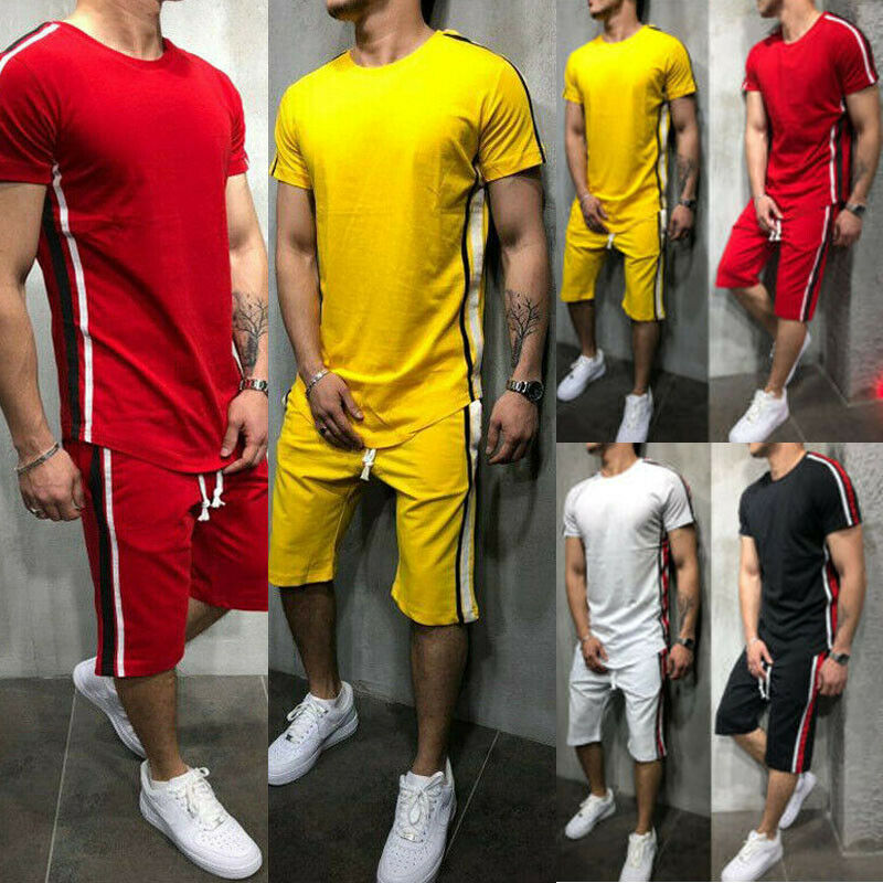 2020 Summer Fashion Men Casual Outfits Short Sleeve O-Neck T-Shirt Tops High Waist Pants Outfits Men Striped Jogging Outfit
