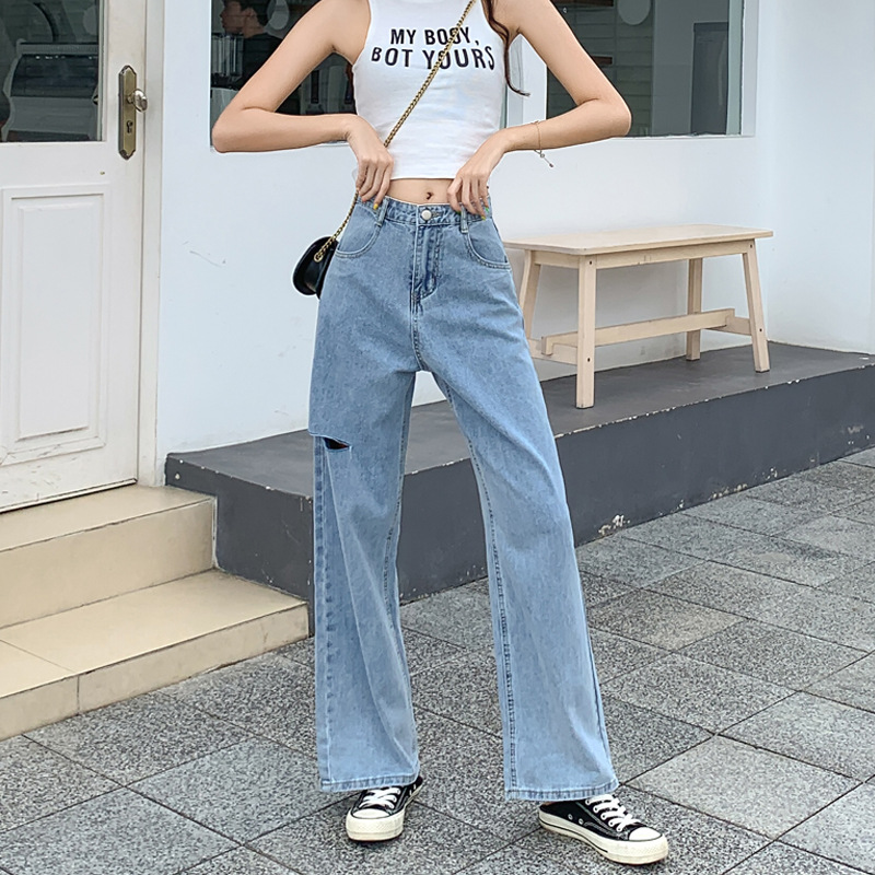 2020 Fashion Retro New Loose Women's High Waist Straight Straight Hole Wide Leg Jeans Women Mopping Pants Mom Jeans