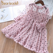 Bear leader/платье для девочек; Новинка; модные элегантные платья принцессы в горошек для девочек; кружевная детская одежда с вышивкой; Vestidos