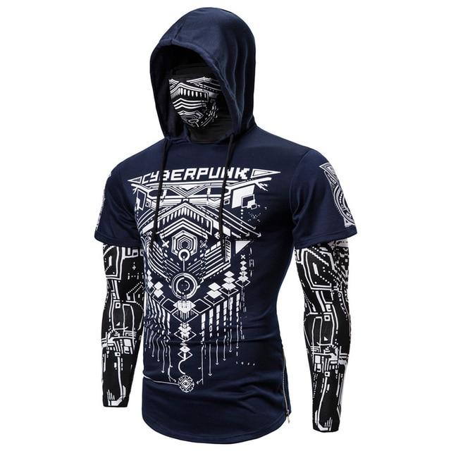 Mens Skull Mask Hoodies Sweatshirt Fake Two Pieces Men Punk Jogging Homme Pullover Elastic Streetwear Hoodie Japan Ninja Suit 6