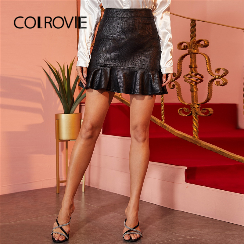 COLROVIE Black Faux Leather Crocodile Ruffle Hem Mini Skirt Women Bodycon High Waist Elegant Skirt 2020 Spring Ladies Skirts