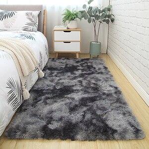 Серый ковер, крашеные плюшевые мягкие ковры для гостиной, спальни, Противоскользящие коврики для спальни, водопоглощающие коврики alfombra