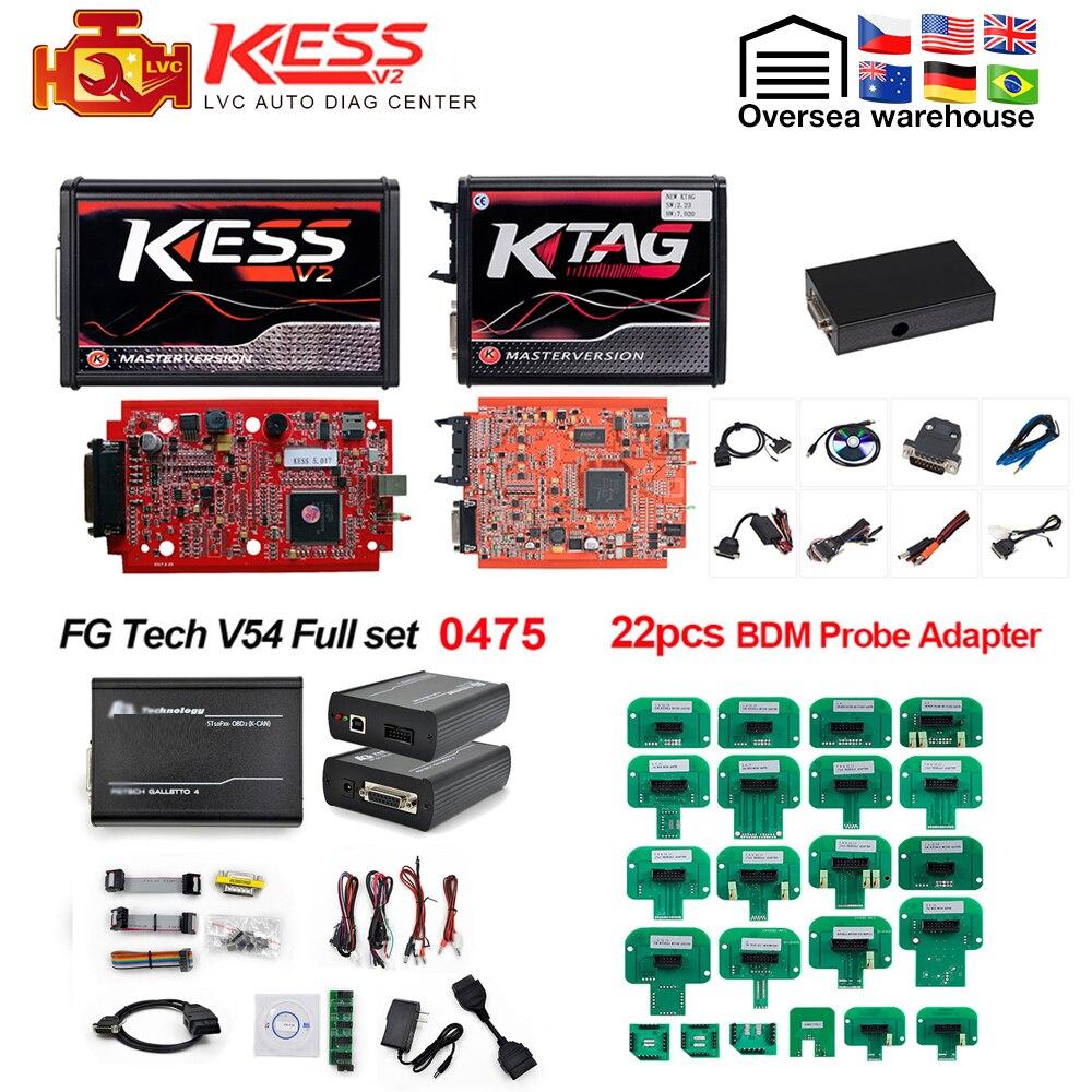 KTAG V7.020 24 LED+EU 0475 FGTECH Galletto 4 EU Red Kess V2 V5.017 BDM Frame