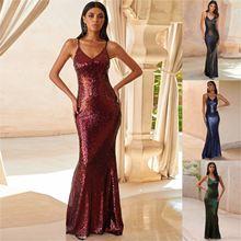 Женское платье Русалка с блестками вечернее большого размера