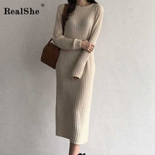 RealShe Autumn Sweater Women 2019 O-neck Long Sleeve Solid Slim Fall Sweaters for Casual Winter Knitted Dress