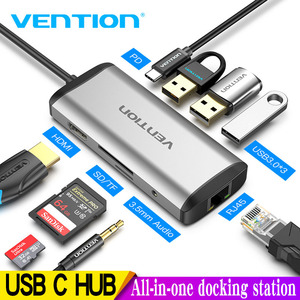 Vention USB C HUB type-c do 4K HDMI RJ45 VGA USB 3.0 HUB Dock dla MacBook Pro Huawei Mate 30 USB-C 3.1 Splitter Port USB-C HUB