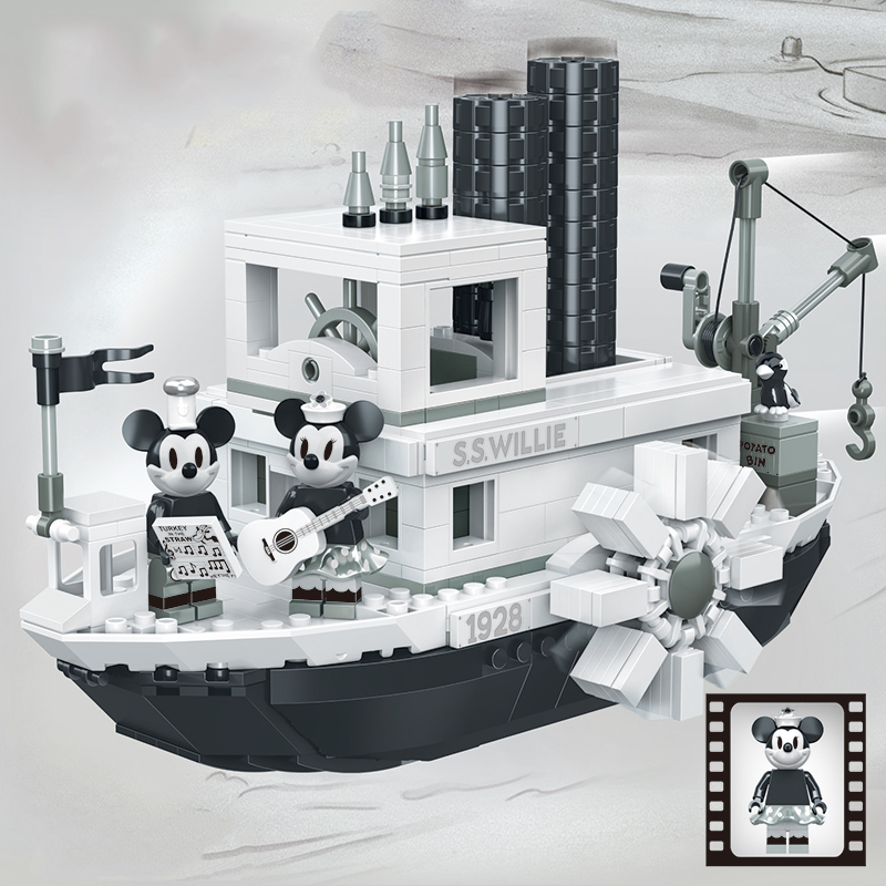 823pcs Mickey Steamboat Willie Set 21317 Building Blocks Compatible Legoinglys Bricks Toys For Children Gifts Kid Christmas