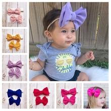 2Pcs Bow Baby Headbands Set For Newborn Girls Nylon Elastic Hair Bands Headwear Bowknot Clips Accessories