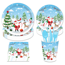 Omilut Christmas Snowman Party Supplies Tree Disposable Plates/Cups/Napkins Tableware Sets Merry Decor