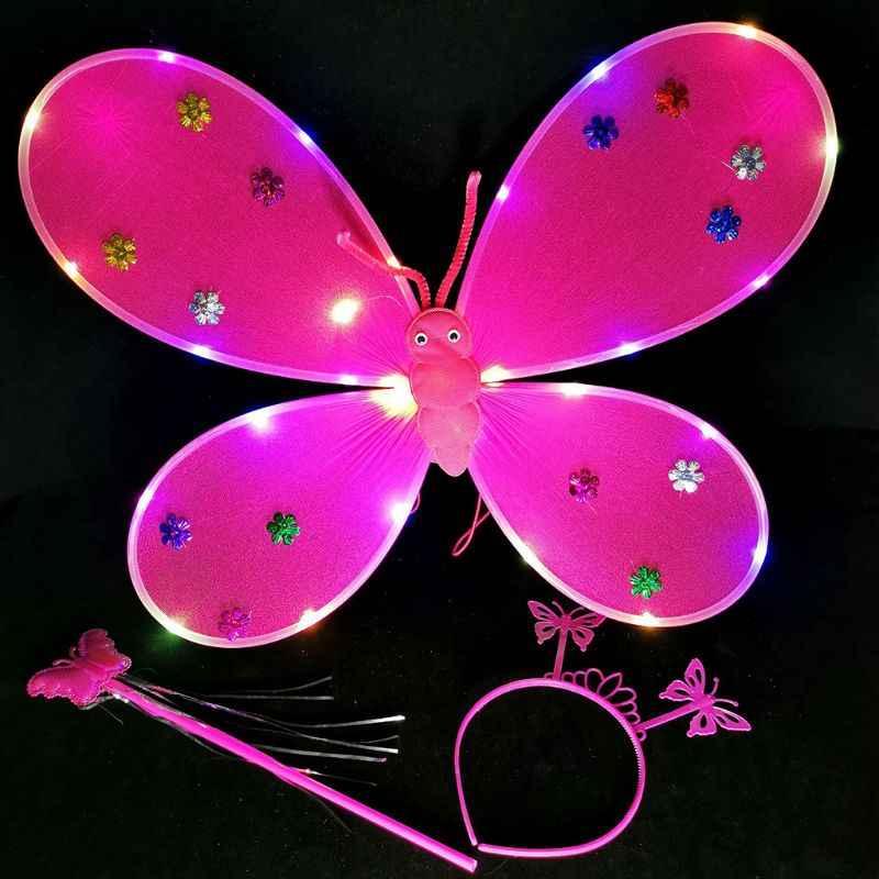 3 adet çocuk kız LED yanıp sönen melek kanatları seti peri sihirli değnek Bandana taç tatlı küçük prenses karnaval parti Cosplay kostüm