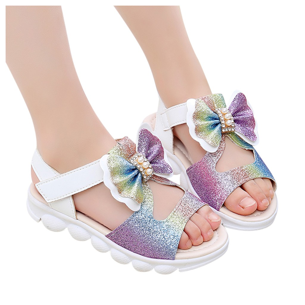 Bow Princess Hollow Sandals Fashion Sweet Cute Footwear For Children Infant Kids Best Gift Summer Baby Girls Shoes Bling