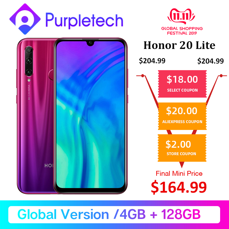 Global Version Honor 20 Lite 4GB 128GB Kirin 710 Octa Core Smartphone Front 32MP Face ID 24MP Rear Camera Google Play