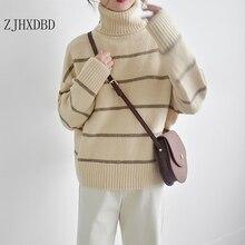 Полосатый плотный Повседневный теплый вязаный свитер с высоким