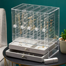 High-end Jewelry Box, Large Capacity Earring Storage Box, Transparent Jewelry Display Stand, Dustproof Princess Jewelry Stand