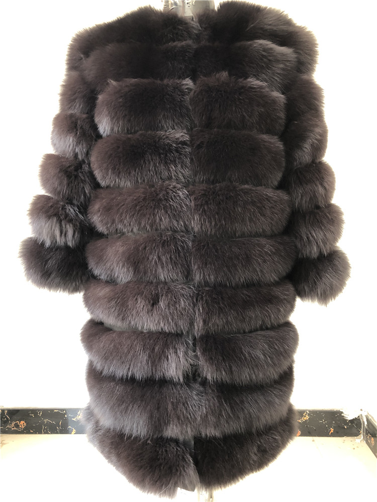 100% Natural Real Fox Fur Coat Women Winter Genuine Vest Waistcoat Thick Warm Long Jacket With Sleeve Outwear Overcoat plus size 41