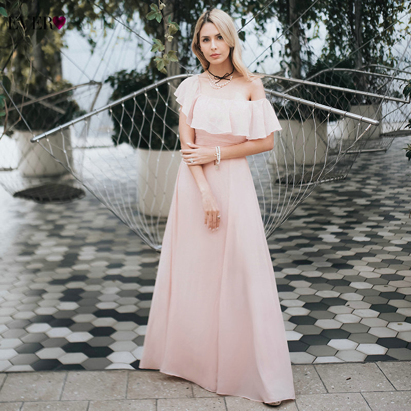 Prom Dresses Long Ever Pretty Elegant Off-shoulder A-line Leg Slit Wedding Guest Dresses Sexy Purple Chiffon Long Party Gowns