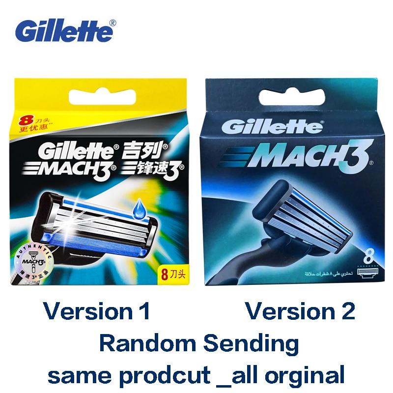 Genuino Gillette Mach 3 Lame di Rasoio Da Barba Per Gli Uomini di Marca Lama di Radersi Con 8 Lame