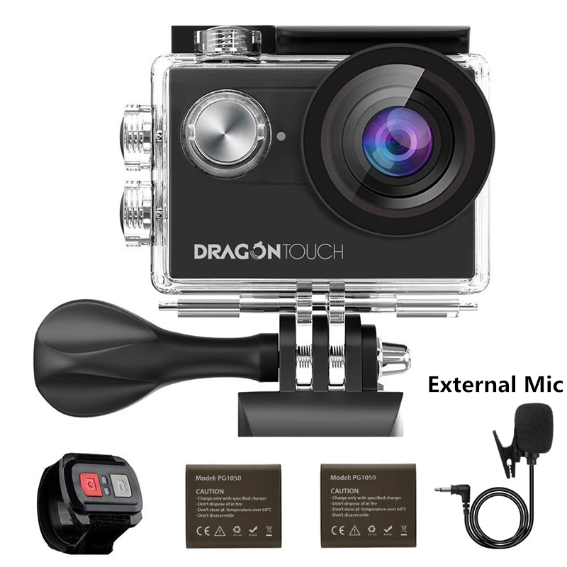 AKASO DragonTouch 4K EIS Action Camera 16MP Vision 4 Underwater Camera Remote Control WiFi Sports Camera With External Mic