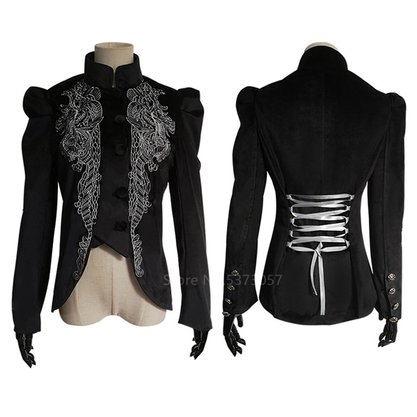 Renaissance Palace Noble Tuxedo Victorian Tailcoat Cosplay Medieval Costume Steampunk Halloween Costume for Women Carnival Party