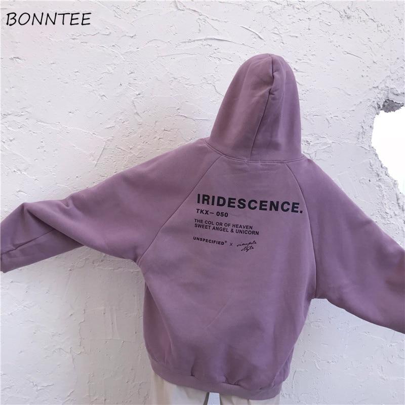 Hoodies Women Thicker Plus Velvet Big Pocket Warm Soft Hooded Letter Printed Simple All-match Leisure Womens Trendy Sweatshirt