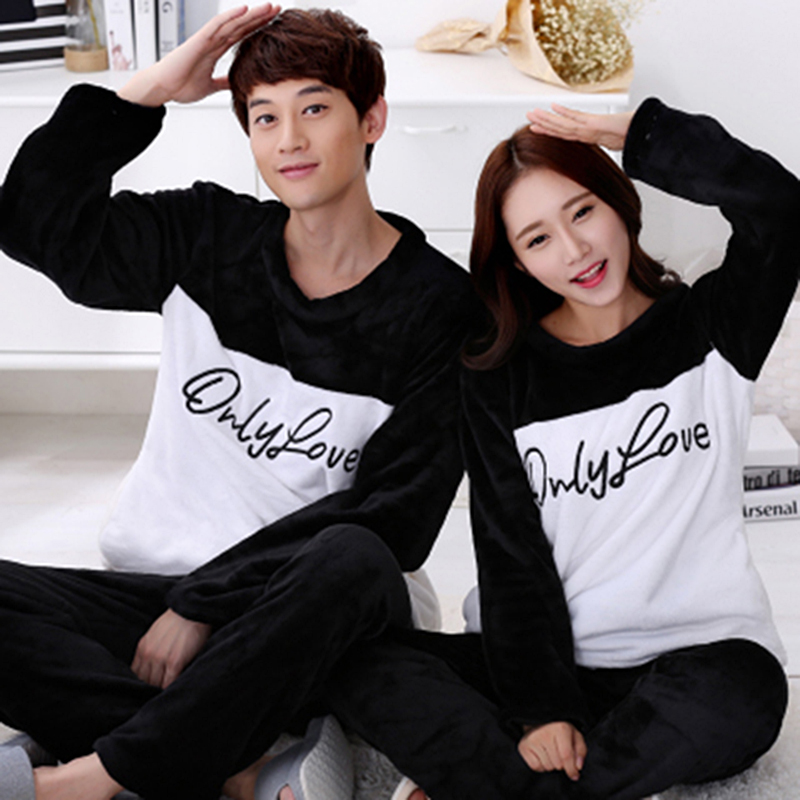 Couples Thick Warm Flannel Long Sleeve Pajama Set For Women Winter Cute Cartoon Coral Velvet Sleepwear Suit Men Homewear Clothes