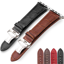 Genuine Leather strap For Apple watch band 44 mm 40mm iWatch band 42mm 38mm Crocodile bracelet Apple watch 5 4 3 2 38 40 42 44mm zlimsn crocodile leather watch band quick installation mens women luxury strap size 12mm 26mm suitable for apple 38mm 42mm watch