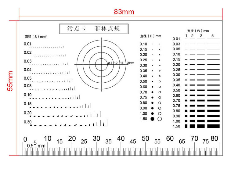 Portable Film Point Gauge High Transparent PET Soft Stain Card Micrometer Calibration Rule For Area Diameter Width Measuring