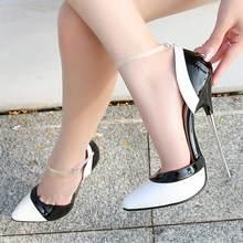 Escarpins à talons hauts pour femmes, chaussures à la mode, couleurs mélangées, lanière de cheville, taille 46, sandales de fête, en cuir verni