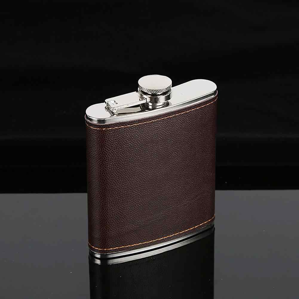 Nieuwe Mannen High End Faux Leather Wrapped Rvs Vodka Whisky Alcohol Heupfles 5-9 oz/146.5 -263.7ml Drop Shipping