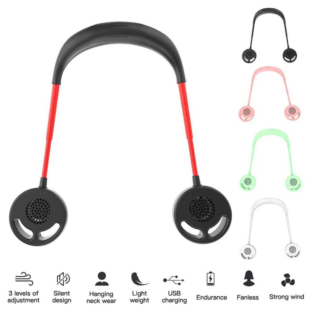 Cool Summer No Fan Blades USB Rechargeable Portable Hanging Neck Sports Fan Headphone Design Mini Cooler Wearable Neck Fans For