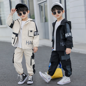 INS hot boys suit 4-13 years old cotton Contrast large pocket casual two-piece suit Backpack boutique kids clothing hooded boys contrast pocket jeans