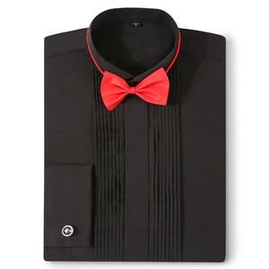 Image 4 - Camisas de esmoquin para hombre, Vestido de manga larga para boda, gemelos franceses, dobladillo con diseño de botones oscuro, camisa de caballero blanca, roja, negra