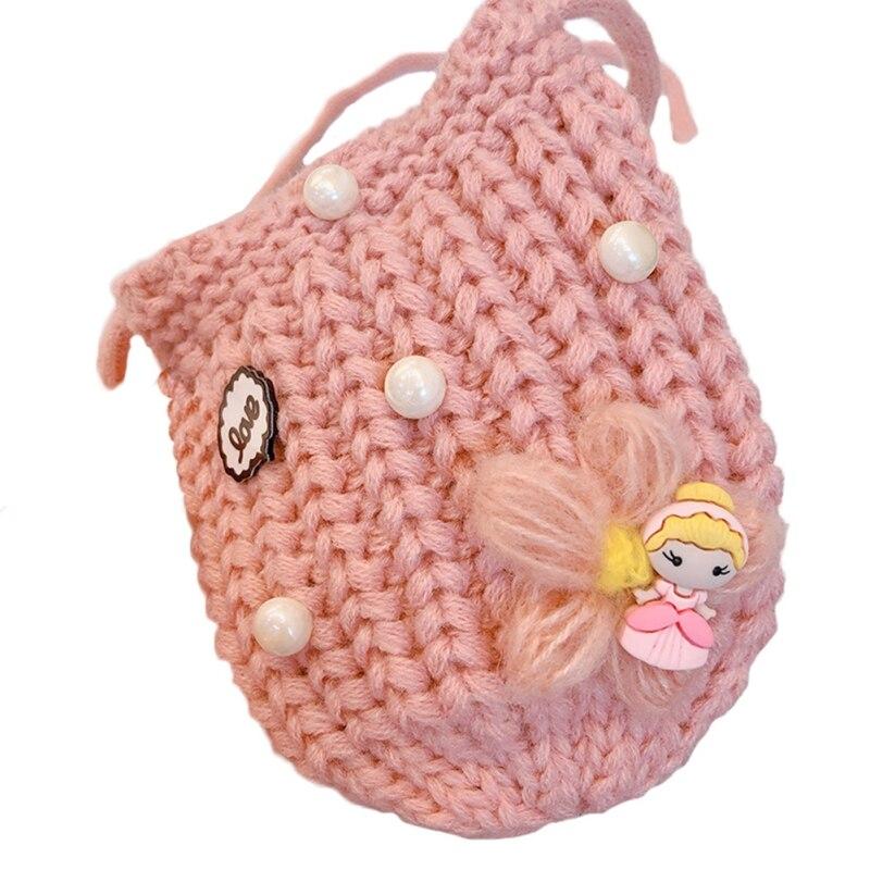 Детская сумка для девочек с милым мультяшным жемчугом, Вязаная Детская сумка через плечо, сумки через плечо, сумка-мессенджер - Цвет: P