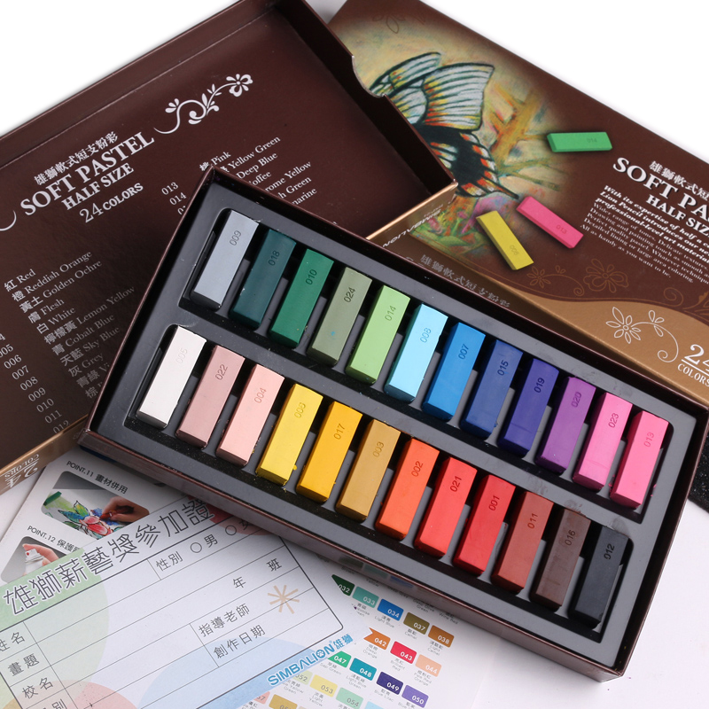 Soft Pastel Set Half Size Smooth 24 Color Chalk Pencil Crayon For Drawing Painting Lining Coloring Art School Blackboard 6885