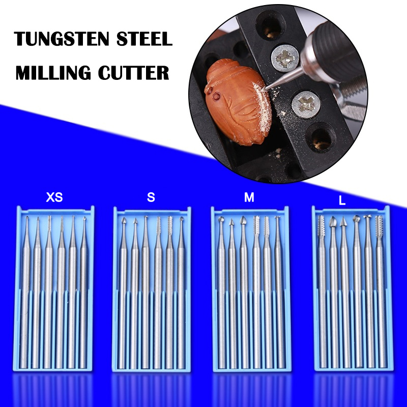 Newly 1 Set Tungsten Steel Umbrella Needle Carving Cutter Micro-carving Milling For Wooden Olive-stone MJJ88