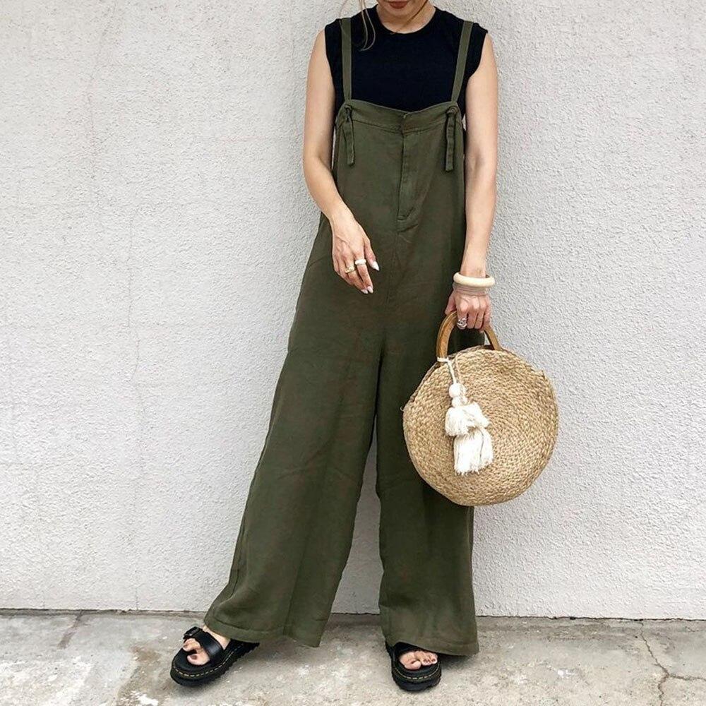 Женский свободный комбинезон, армейский зеленый, корейский, японский, 2020, летний, Повседневный, модный, полная длина, однотонный, женский ком