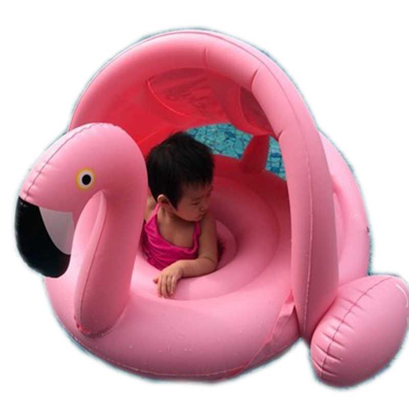طفل الظل السباحة تعويم دائرة حلقة آمنة نفخ فلامنغو الطفل الذراع خواتم الاطفال السباحة مقعد مع ظلة حمام سباحة يطفو