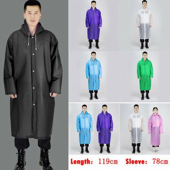 Durable Mens Womens One-piece Waterproof Jacket Rain Coat Hooded Button Raincoat