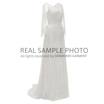 Factory Price 100 % Real Sample Photo Long Sleeve Backless O-Neck Lace Boho Bohemian  Beach Wedding Dress Bridal Gown 2